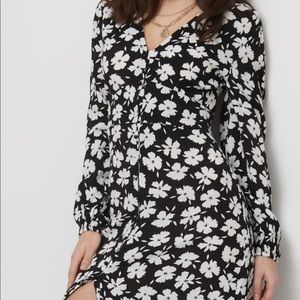 Long sleeve v neck with button dress
